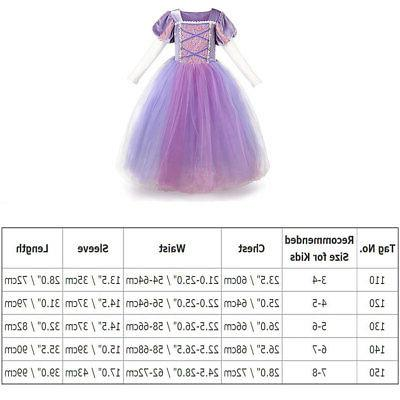 Kids Girls Princess Rapunzel Costume Cosplay Party Fancy up Gown US