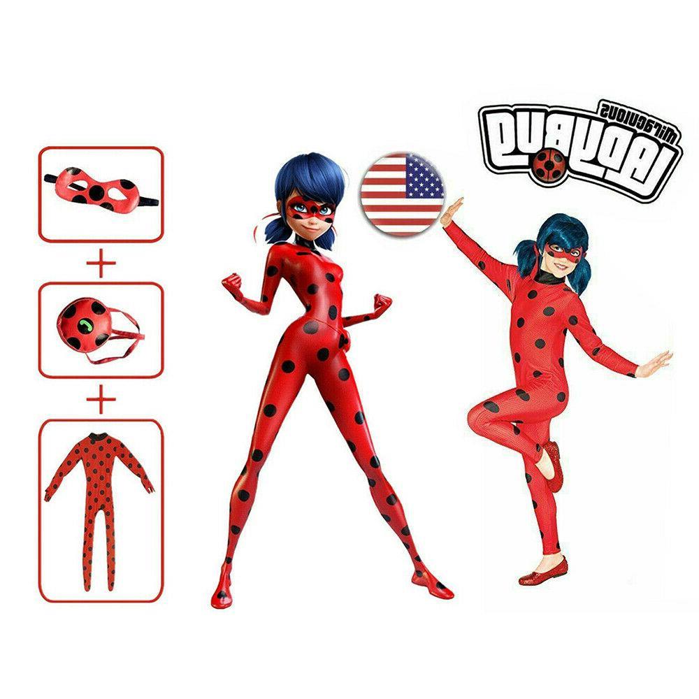 kids girls red ladybug cosplay costume fancy