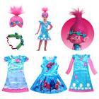 Kids Girls Trolls Poppy Fancy Dress Costume Wigs Party Cospl
