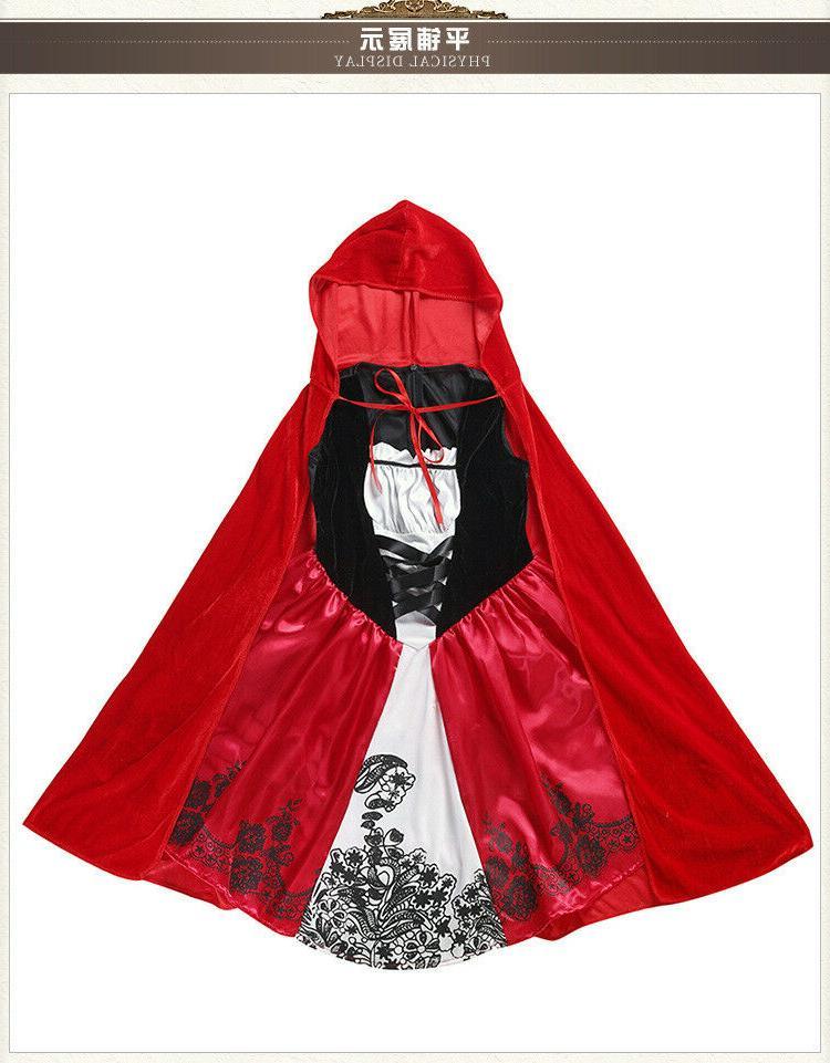 Little Red Riding Costume Kids Girls Tale Halloween ZG