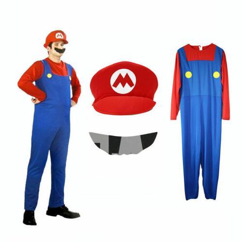 Men's Women Mario Luigi Fancy Dress Outfit