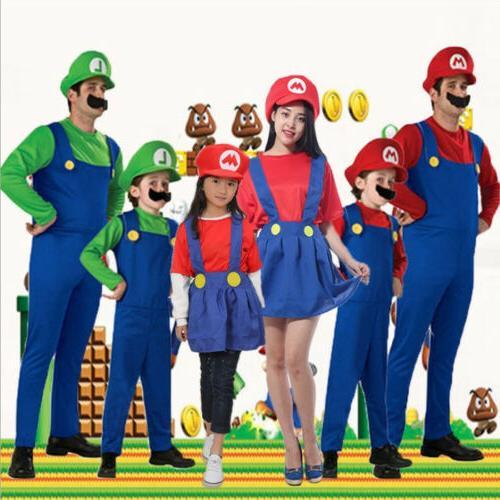 Men's Adult/Kids Mario Luigi Fancy Dress