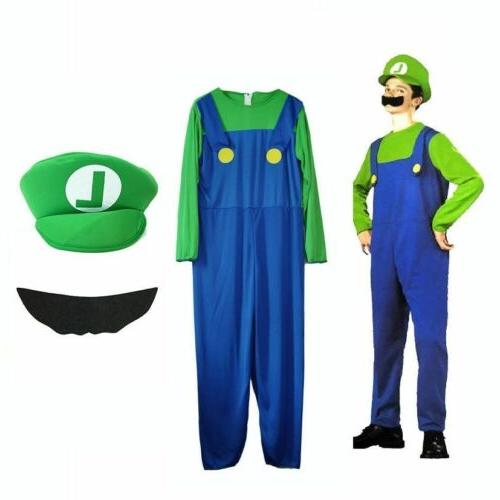 Men's Adult/Kids Super Mario Cosplay Fancy Dress Outfit