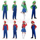 Mens Kids Super Mario Luigi Brother Fancy Womens Dress Hallo