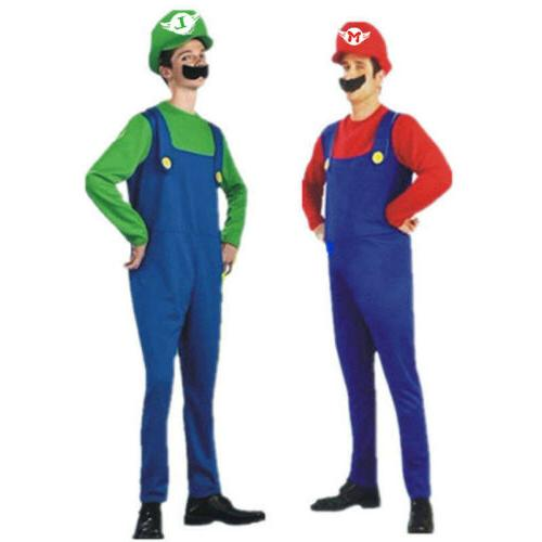Mens Luigi Brothers Costume Plumber Fancy Clothes
