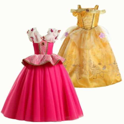 Kids Girls Princess Belle Aurora Cosplay Costume Party Fancy