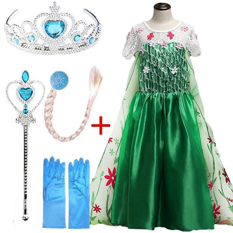 New Snow Queen Snowflake Anna <font><b>Costume</b></font> With Hair <font><b>Kids</b></font> for Clothing