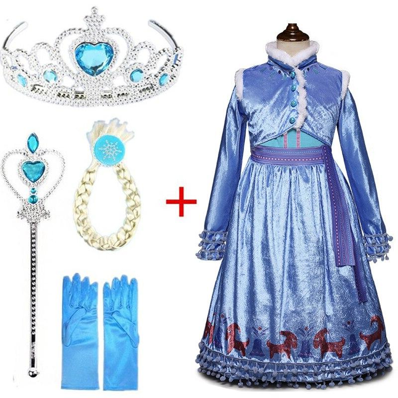 New Dress Snow Queen Anna Hair <font><b>Accessory</b></font> Dresses for <font><b>Girls</b></font> Clothing