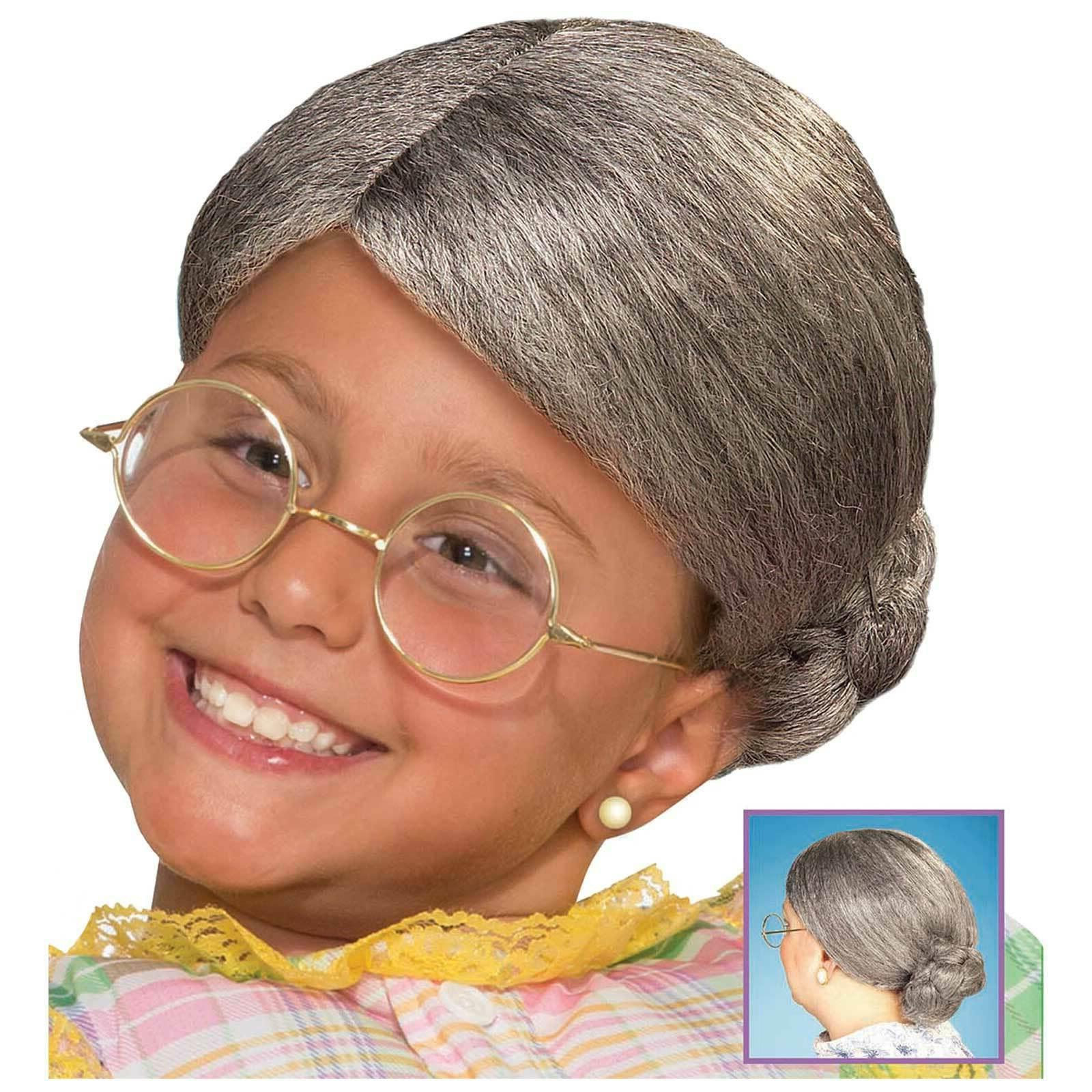 Old Lady CHILD Wig with Bun Costume Accessory NEW Girls