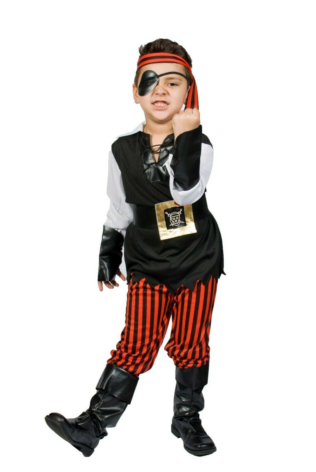 Pirate Costume boys Kids buccaneer Size S M 5,6,7,8