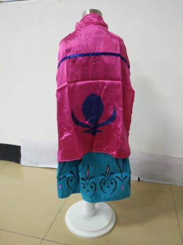 Princess Anna Costume Halloween Girls Cloak Cartoon Dress Cape