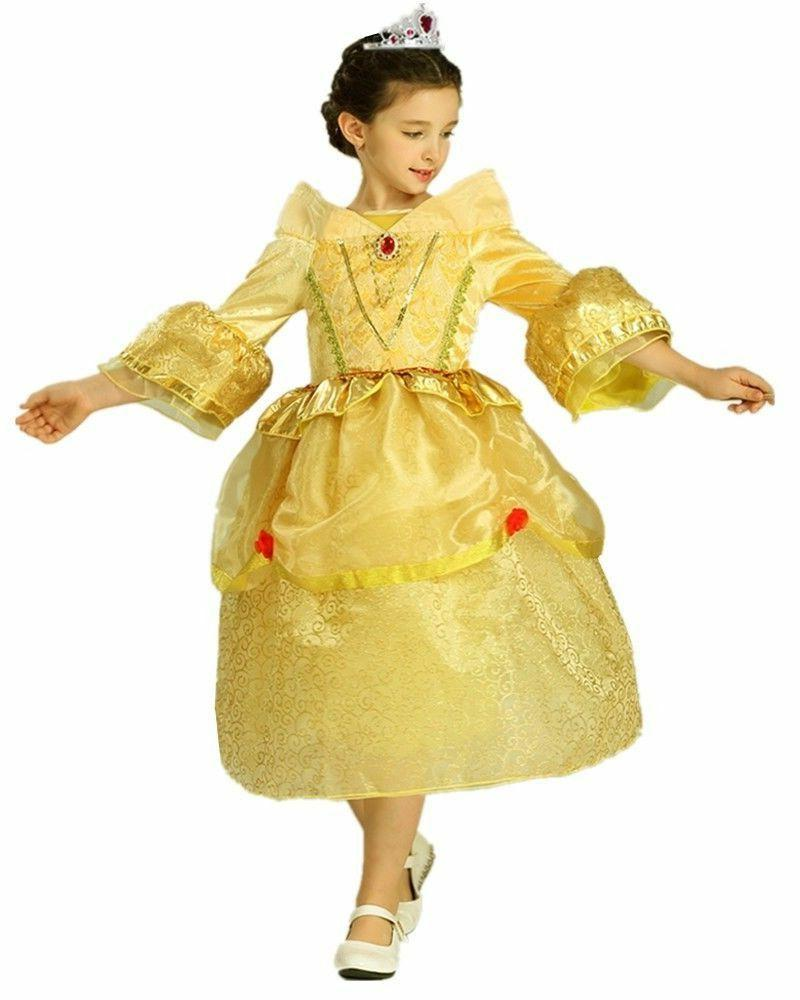 Princess Belle Yellow Deluxe Girls Costume Dress