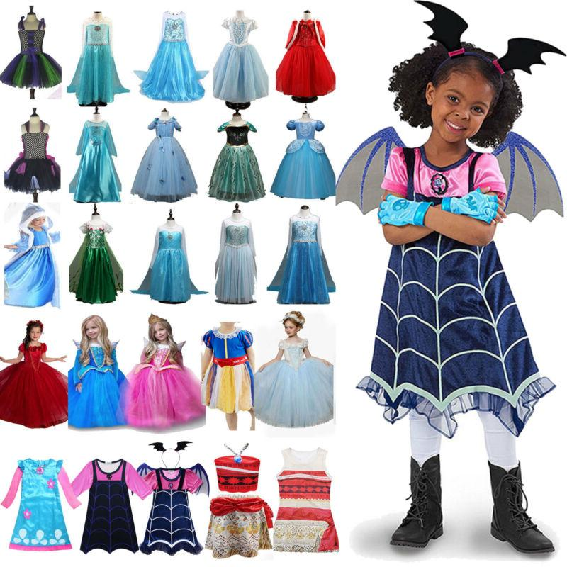 Princess Elsa Anna Dress Fancy Costume Girls Kid Party Cospl