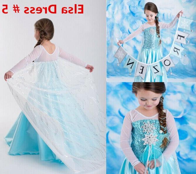 Princess Elsa Cosplay Costume Dress for Girls 2-10 Y