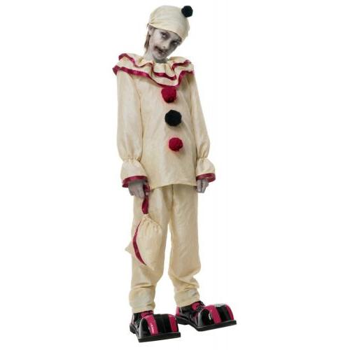 Scary Clown Costume Kids Creepy Halloween Fancy Dress