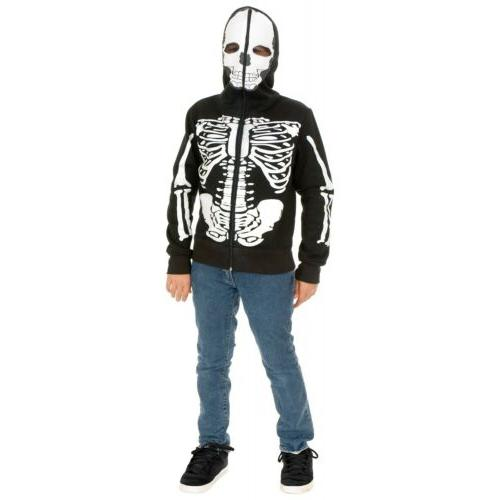 Skeleton Hoodie Kids Halloween Costume Zipperhead Zip Up Fan