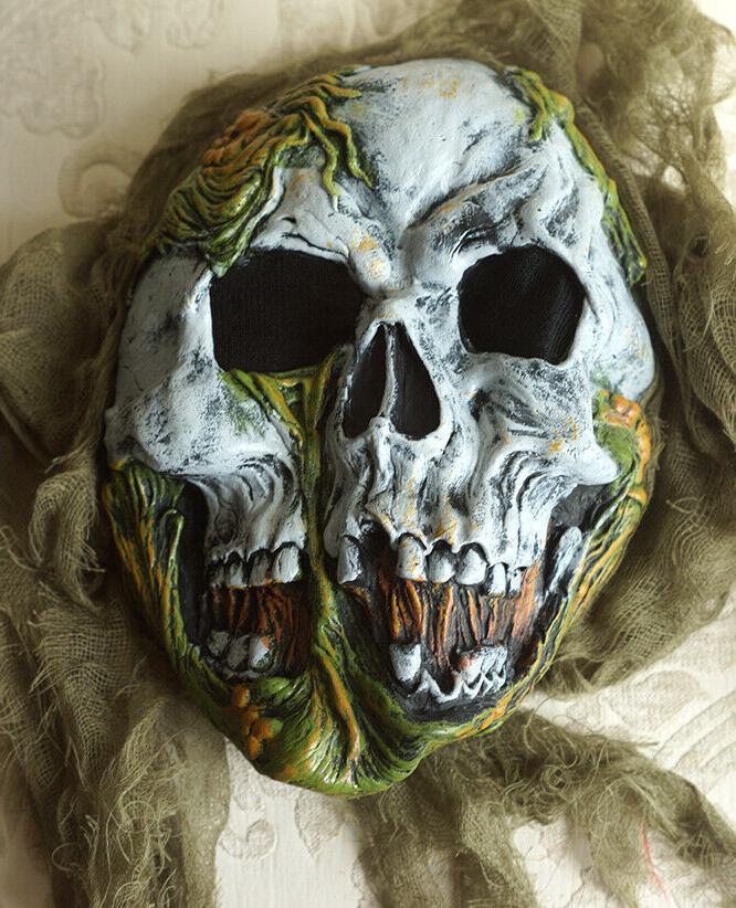 SKELETON ZOMBIE Halloween Costume Child's Medium 8-10, Mask + Top Pants