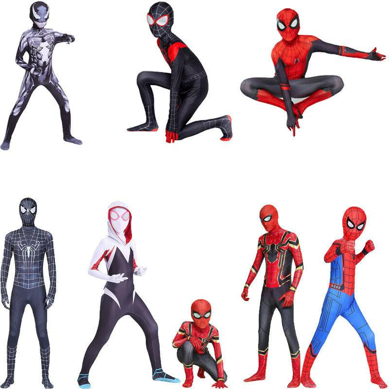 spider man kids cosplay costume jumpsuits teens