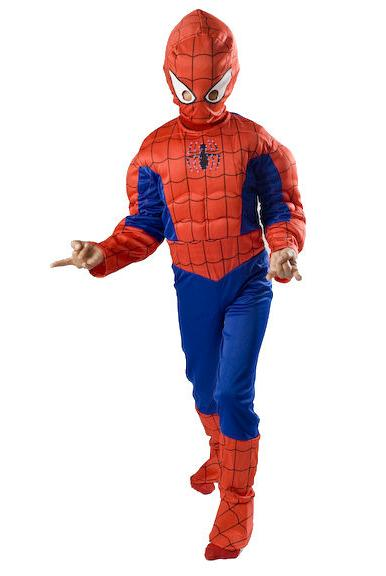 Spiderman Muscle Costume Boys kids light up T S M FREE MASK