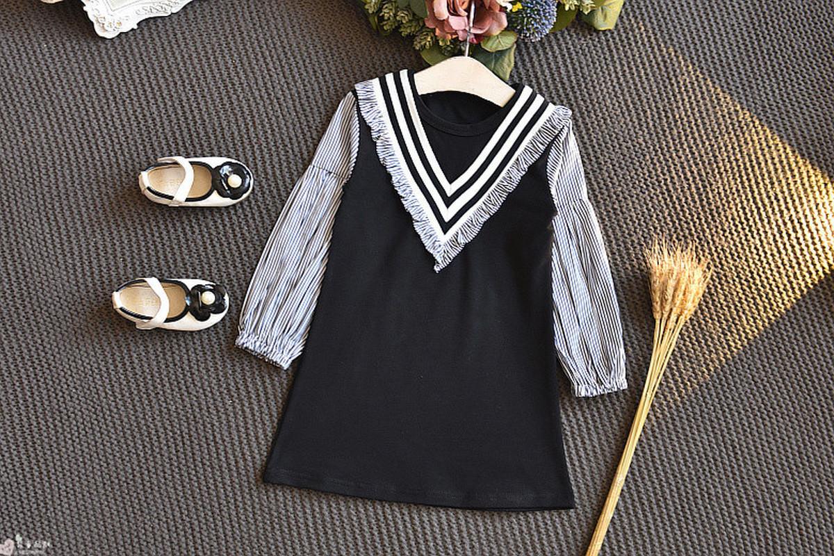 Striped <font><b>Navy</b></font> O-neck Long Sleeve <font><b>Kids</b></font> Dresses for Fall Toddler