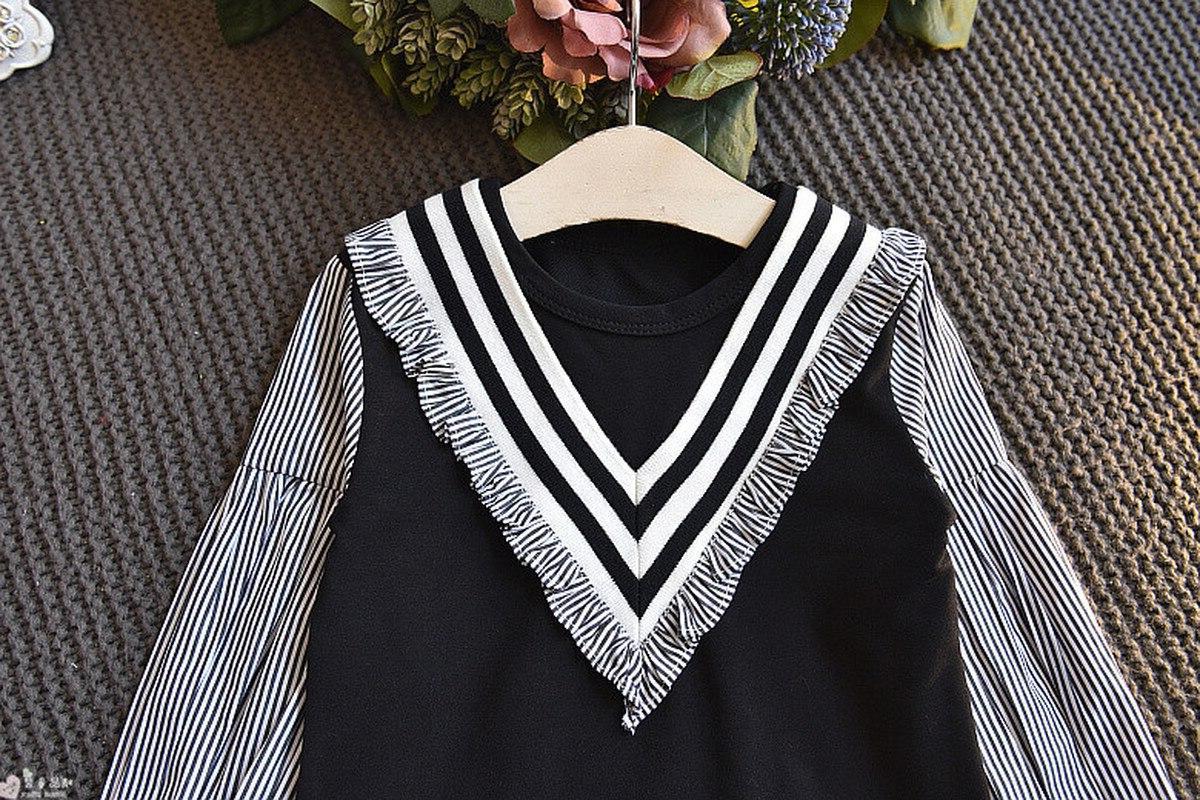 Striped Girls O-neck Sleeve Dresses Fall Children Toddler <font><b>Costume</b></font>