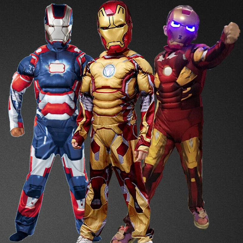 US Kids boys deluxe Iron Man Cosplay Costume Fancy Party 3-1