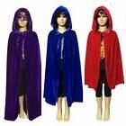 US Kids Girls Boys Hooded Velvet Cape Cloak Fancy Dress Robe