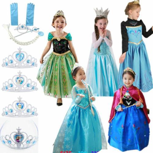 Girls Frozen Anna Princess Dress Costume Party