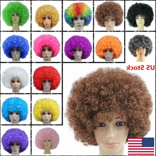 US Men Lady Clown Afro Hair Football Fan Costume Cosplay Adu