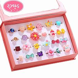 PinkSheep Little Girl Jewel Rings in Box, Adjustable, No Dup