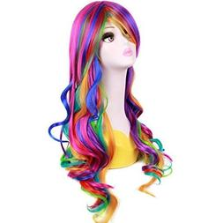 BERON 28 Inches Long Culry Rainbow Wig Girls Cosplay Party W