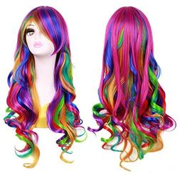 "BERON 27.5"" Women Girl's Long Curly Wavy Rainbow Wig for Hal"