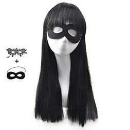 BERON Kids Girls Long Straight Black Cosplay Costume Wig wit