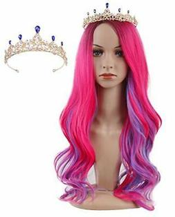 Lovely Long Pink and Blue Kids Wigs with Crown Halloween Cos