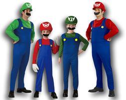 Mario and Luigi Costumes Kid Men Super Mario Bros/Brothers C
