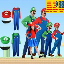 Men Women's Adult Kids Super Mario Luigi Bros Cosplay Fancy