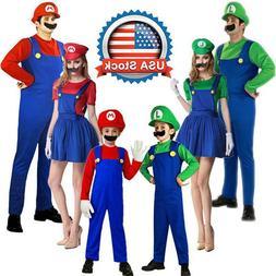 Men Womens Adult Kid's Super Mario Luigi Bros Cosplay Fancy
