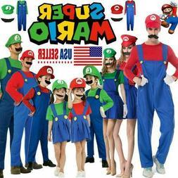 Mens Adult Boys Kids Super Mario+Luigi Fancy Dress set Cospl