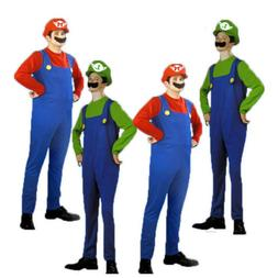 Mens Super Mario Luigi Brothers Cosplay Games Costume Plumbe