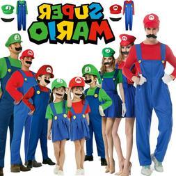 Mens Women Adults Kids Super Mario Luigi Bros Cosplay Fancy