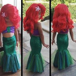 Mermaid Girls Costume Kids Dress Tail Fancy Swimwear Ariel C