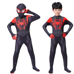 Miles Morales Cosplay Costume Kid Boys Adult Mens One Piece