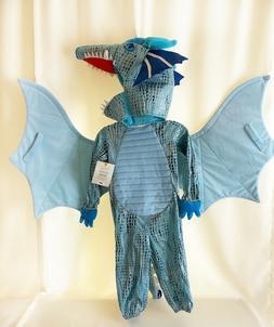 NEW Pottery Barn Kids Blue DRAGON Costume 3T Wings Halloween