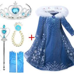 New Elsa Dress Cosplay Snow Queen Princess Snowflake Anna El