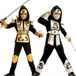 Ninja Ninjago Costume Kids Boys Gold Sliver Dragon Hooded Sh