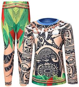 NWT Disney AmzBarley Moana Kids Maui Pajamas 2 Piece Costume