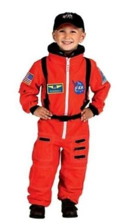 NWT Aeromax Jr. Orange Astronaut Suit Kids Costume w/ Cap &