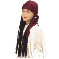 Pirate Bandana with Dreadlocks Wig Costume Accessory