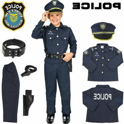 Police Officer Costume Kids Halloween Cosplay Boys Outfit Re