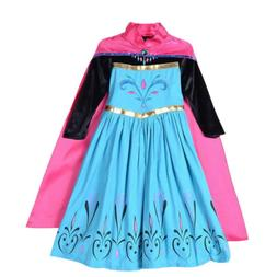 Princess Anna Cosplay Costume Halloween Children Girls Cloak